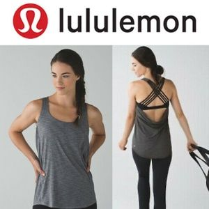 Lululemon Heathered Black Wild Draped Open Tank